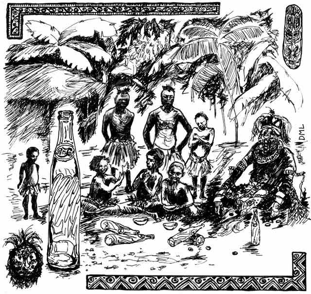 ink drawing of cannibals sitting around in jungle with pepsi bottles